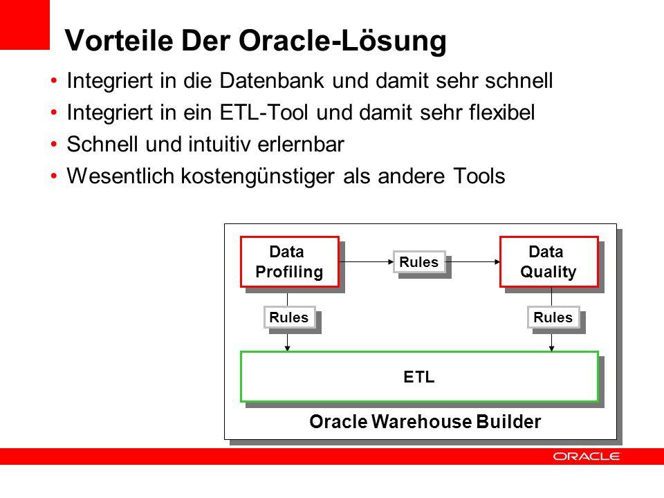 Vorteile Der Oracle-Lösung Integriert in die Datenbank und damit sehr schnell Integriert in ein ETL-Tool und damit sehr flexibel Schnell und intuitiv