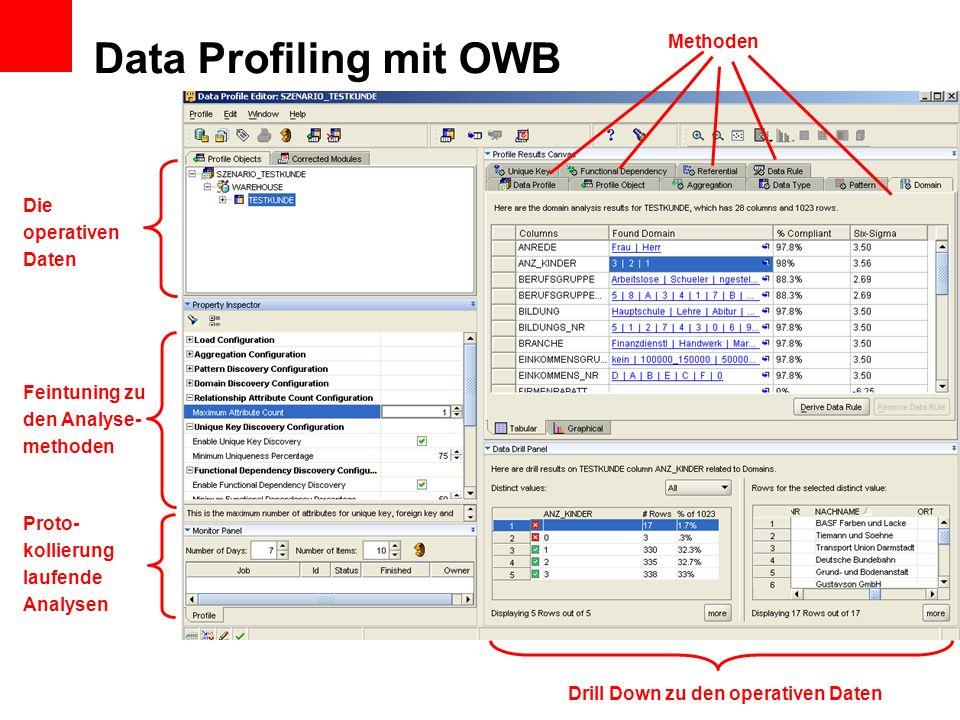 Data Profiling mit OWB Methoden Feintuning zu den Analyse- methoden Die operativen Daten Proto- kollierung laufende Analysen Drill Down zu den operati