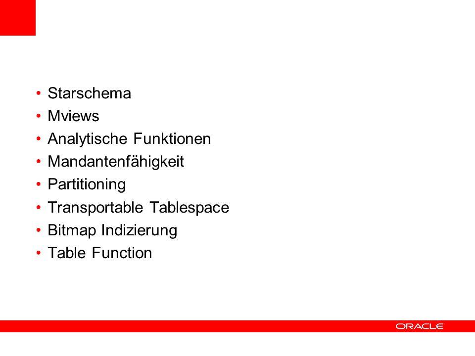 Starschema Mviews Analytische Funktionen Mandantenfähigkeit Partitioning Transportable Tablespace Bitmap Indizierung Table Function