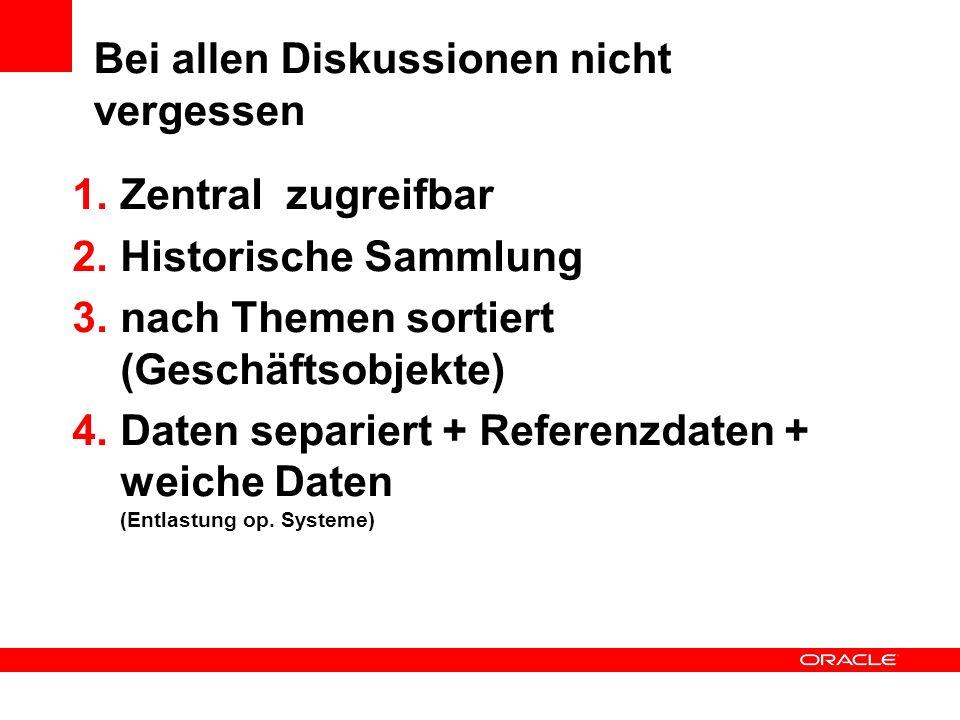 Bei allen Diskussionen nicht vergessen 1.Zentral zugreifbar 2.Historische Sammlung 3.nach Themen sortiert (Geschäftsobjekte) 4.Daten separiert + Refer