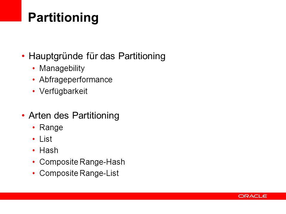 Partitioning Hauptgründe für das Partitioning Managebility Abfrageperformance Verfügbarkeit Arten des Partitioning Range List Hash Composite Range-Has
