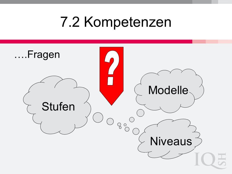 7.2 Kompetenzen ….Fragen Stufen Niveaus Modelle
