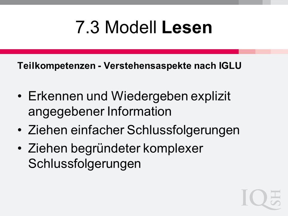 7.3 Modell Lesen Teilkompetenzen - Verstehensaspekte nach IGLU Erkennen und Wiedergeben explizit angegebener Information Ziehen einfacher Schlussfolge