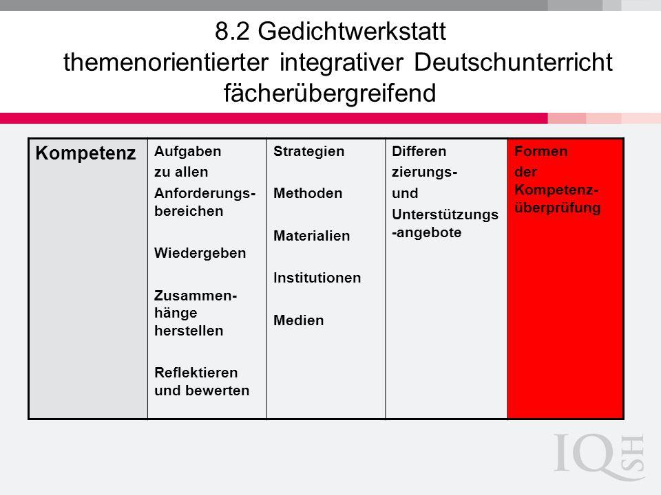 8.2 Gedichtwerkstatt themenorientierter integrativer Deutschunterricht fächerübergreifend Kompetenz Aufgaben zu allen Anforderungs- bereichen Wiederge