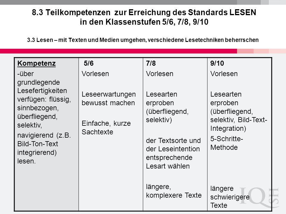 8.3 Teilkompetenzen zur Erreichung des Standards LESEN in den Klassenstufen 5/6, 7/8, 9/10 3.3 Lesen – mit Texten und Medien umgehen, verschiedene Les