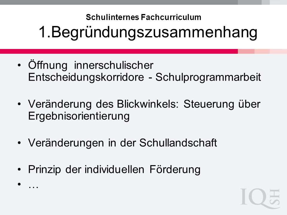 Schulinternes Fachcurriculum 1.Begründungszusammenhang Öffnung innerschulischer Entscheidungskorridore - Schulprogrammarbeit Veränderung des Blickwink