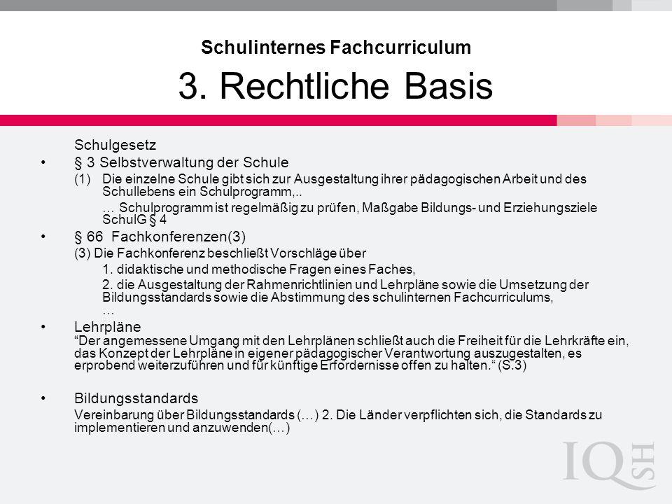 Schulinternes Fachcurriculum 3. Rechtliche Basis Schulgesetz § 3 Selbstverwaltung der Schule (1)Die einzelne Schule gibt sich zur Ausgestaltung ihrer