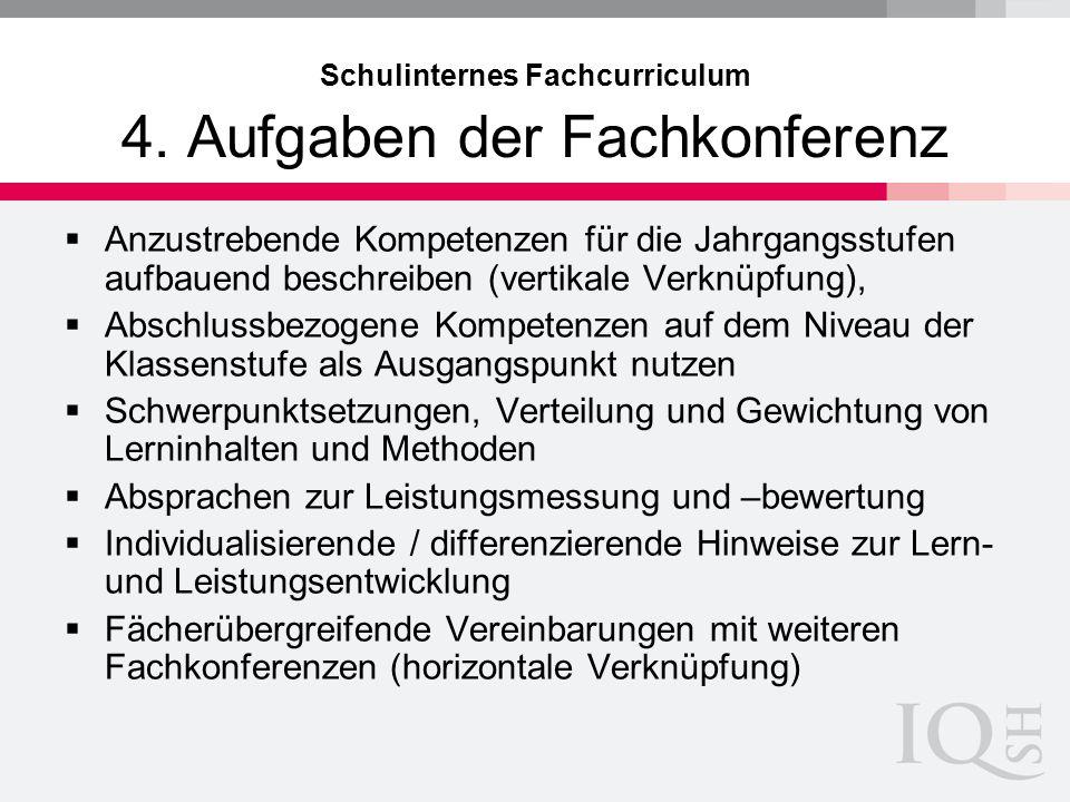Schulinternes Fachcurriculum 4. Aufgaben der Fachkonferenz Anzustrebende Kompetenzen für die Jahrgangsstufen aufbauend beschreiben (vertikale Verknüpf