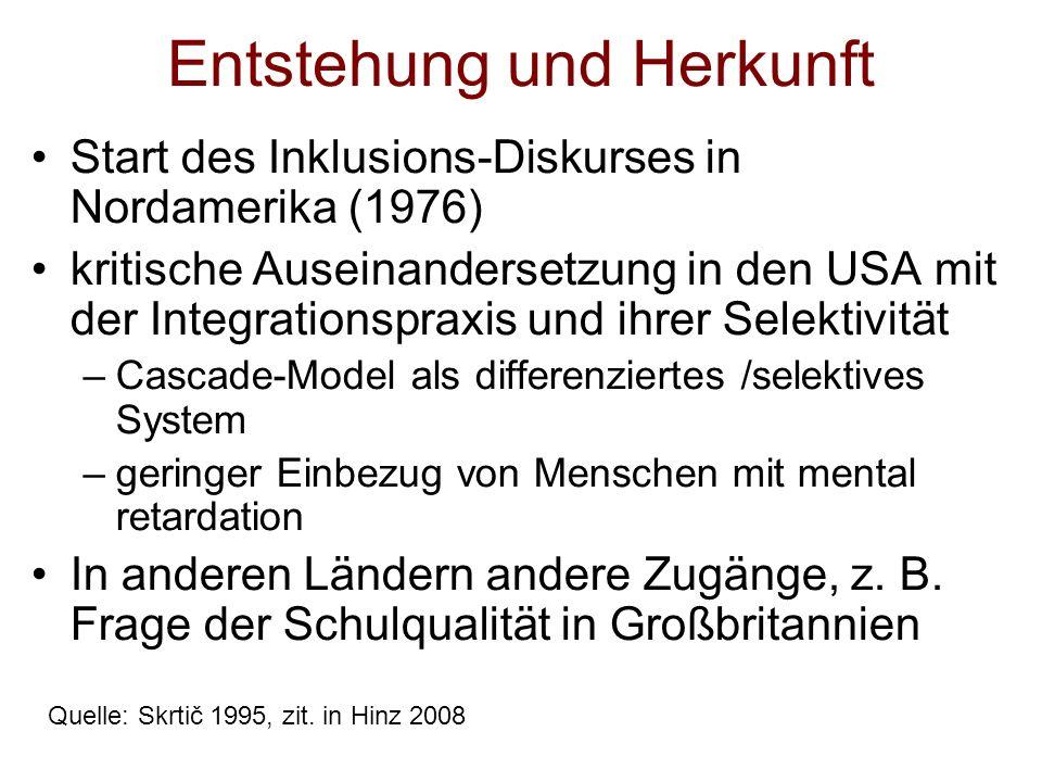 Entstehung und Herkunft Start des Inklusions-Diskurses in Nordamerika (1976) kritische Auseinandersetzung in den USA mit der Integrationspraxis und ih
