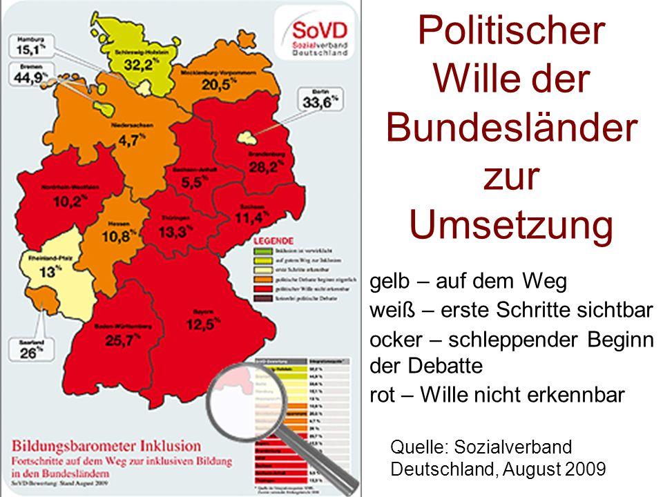 Politischer Wille der Bundesländer zur Umsetzung gelb – auf dem Weg weiß – erste Schritte sichtbar ocker – schleppender Beginn der Debatte rot – Wille