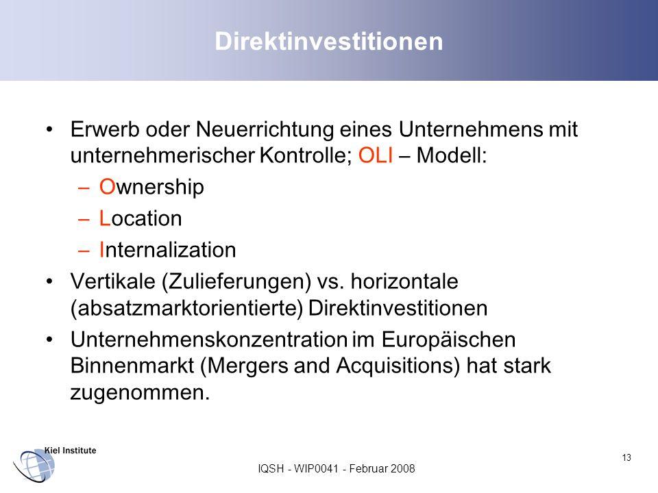 IQSH - WIP0041 - Februar 2008 13 Direktinvestitionen Erwerb oder Neuerrichtung eines Unternehmens mit unternehmerischer Kontrolle; OLI – Modell: –Owne