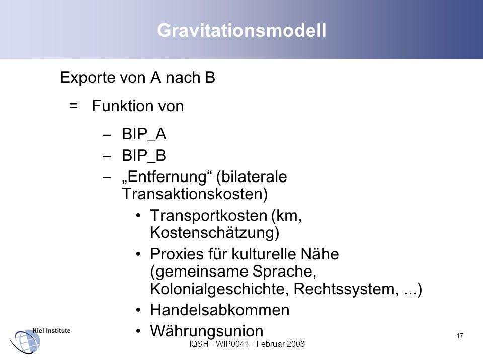 IQSH - WIP0041 - Februar 2008 17 Gravitationsmodell Exporte von A nach B = Funktion von –BIP_A –BIP_B –Entfernung (bilaterale Transaktionskosten) Tran