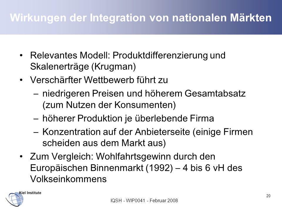 IQSH - WIP0041 - Februar 2008 20 Wirkungen der Integration von nationalen Märkten Relevantes Modell: Produktdifferenzierung und Skalenerträge (Krugman