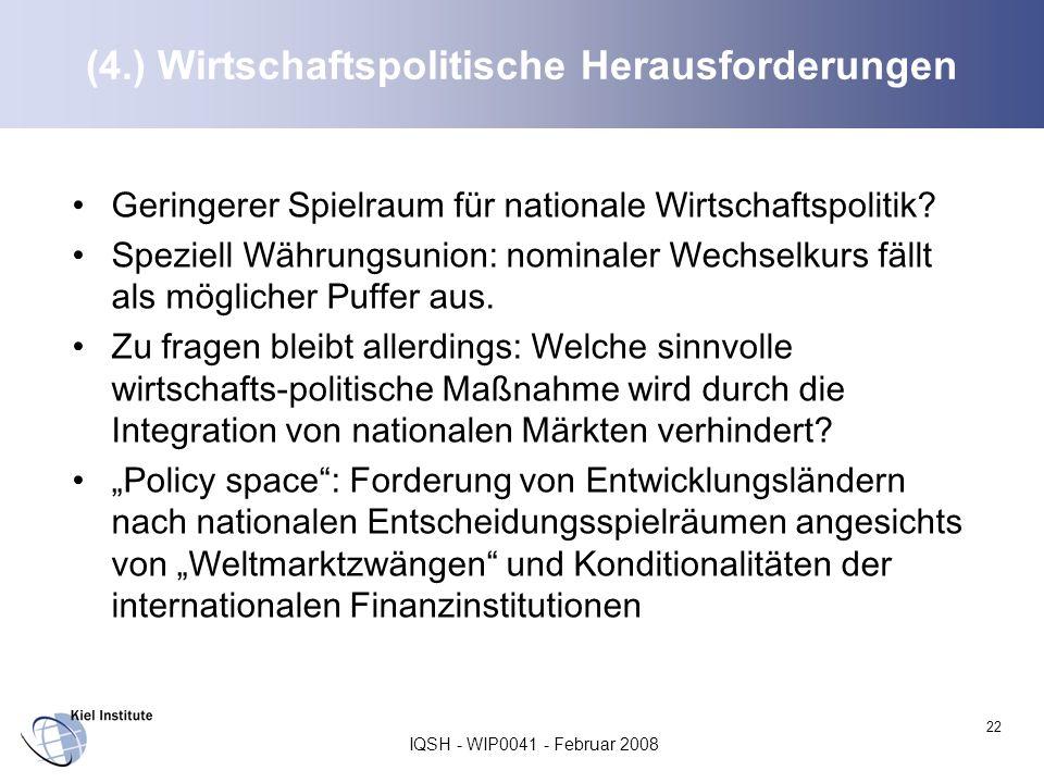IQSH - WIP0041 - Februar 2008 22 (4.) Wirtschaftspolitische Herausforderungen Geringerer Spielraum für nationale Wirtschaftspolitik? Speziell Währungs