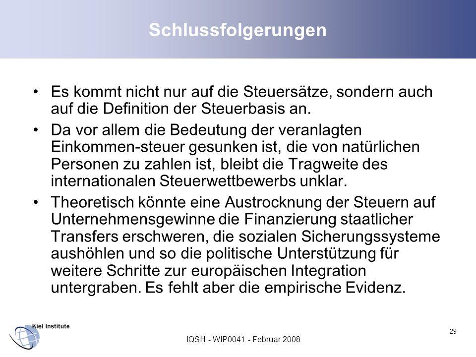 IQSH - WIP0041 - Februar 2008 29 Schlussfolgerungen Es kommt nicht nur auf die Steuersätze, sondern auch auf die Definition der Steuerbasis an. Da vor