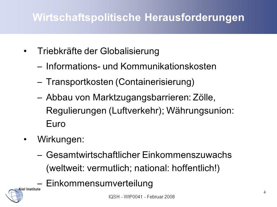 IQSH - WIP0041 - Februar 2008 4 Wirtschaftspolitische Herausforderungen Triebkräfte der Globalisierung –Informations- und Kommunikationskosten –Transp