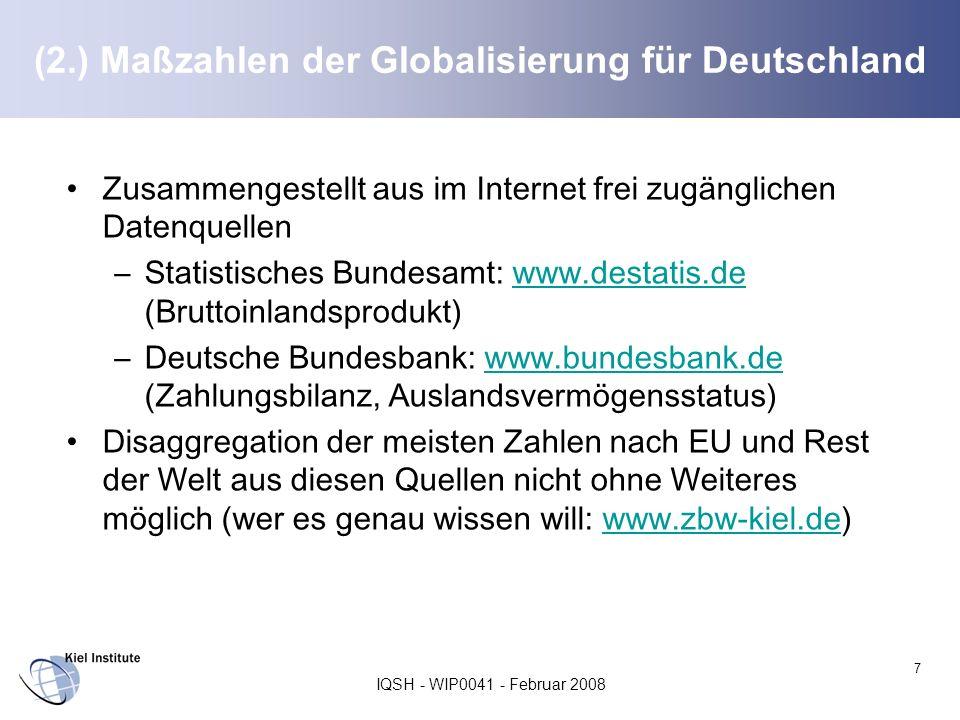 IQSH - WIP0041 - Februar 2008 7 (2.) Maßzahlen der Globalisierung für Deutschland Zusammengestellt aus im Internet frei zugänglichen Datenquellen –Sta