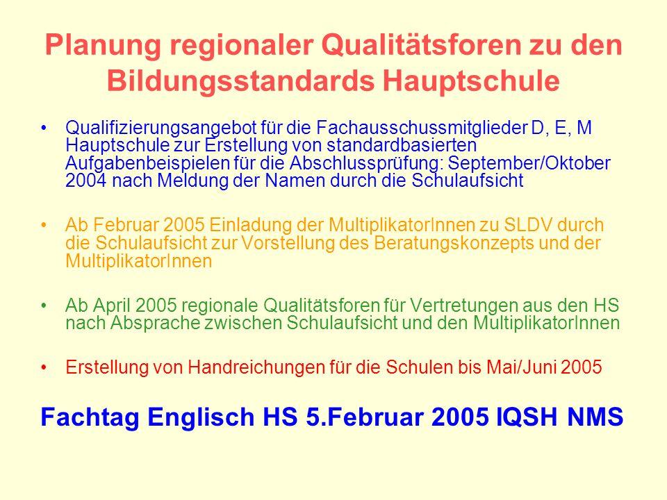 Planung regionaler Qualitätsforen zu den Bildungsstandards Hauptschule Qualifizierungsangebot für die Fachausschussmitglieder D, E, M Hauptschule zur