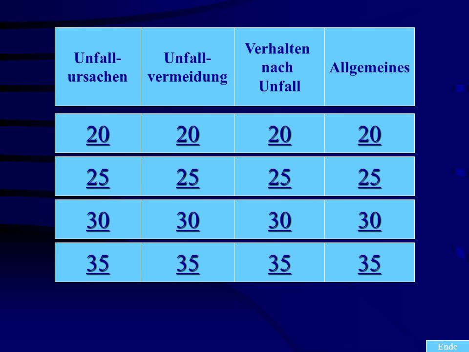 20 25 30 35 20 25 30 35 20 25 30 35 20 25 30 35 Ende Unfall- ursachen Unfall- vermeidung Verhalten nach Unfall Allgemeines