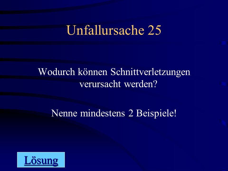 Spielplan Allgemeines 25 Lösung Nenne alle 5 Unfallarten.