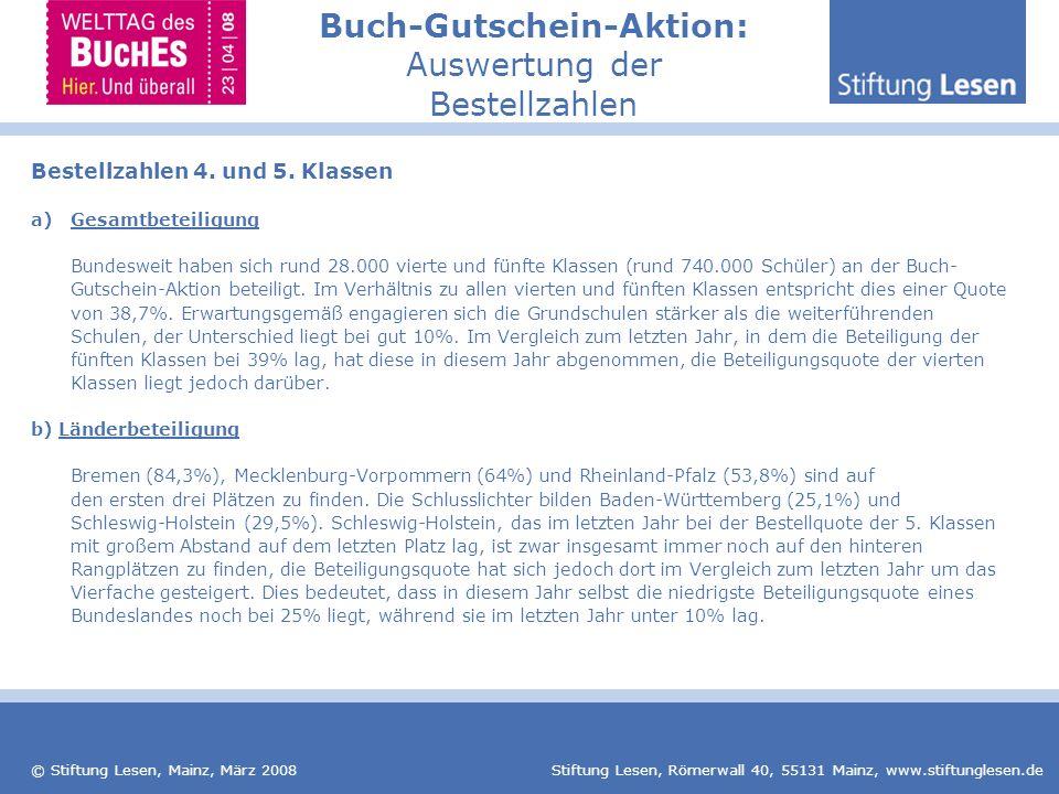 © Stiftung Lesen, Mainz, März 2008 Stiftung Lesen, Römerwall 40, 55131 Mainz, www.stiftunglesen.de Buch-Gutschein-Aktion: Auswertung der Bestellzahlen Bestellzahlen 4.