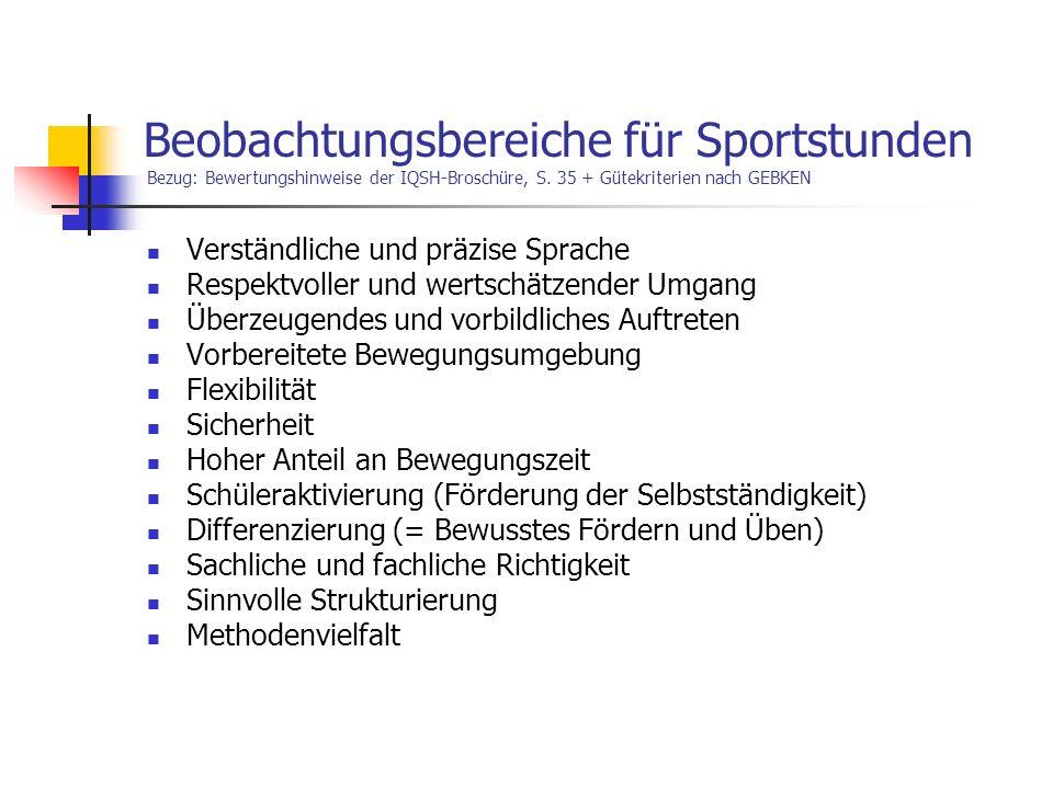 Beobachtungsbereiche für Sportstunden Bezug: Bewertungshinweise der IQSH-Broschüre, S. 35 + Gütekriterien nach GEBKEN Verständliche und präzise Sprach