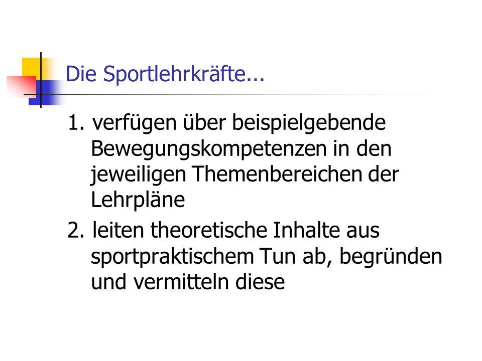 Die Sportlehrkräfte... 1. verfügen über beispielgebende Bewegungskompetenzen in den jeweiligen Themenbereichen der Lehrpläne 2. leiten theoretische In