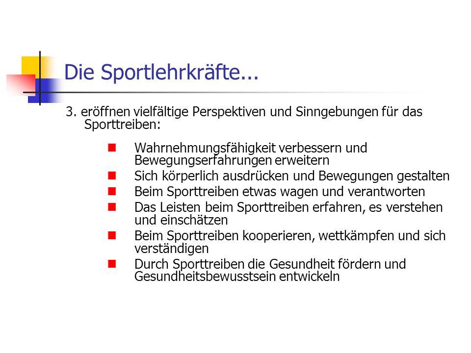 Die Sportlehrkräfte... 3. eröffnen vielfältige Perspektiven und Sinngebungen für das Sporttreiben: Wahrnehmungsfähigkeit verbessern und Bewegungserfah
