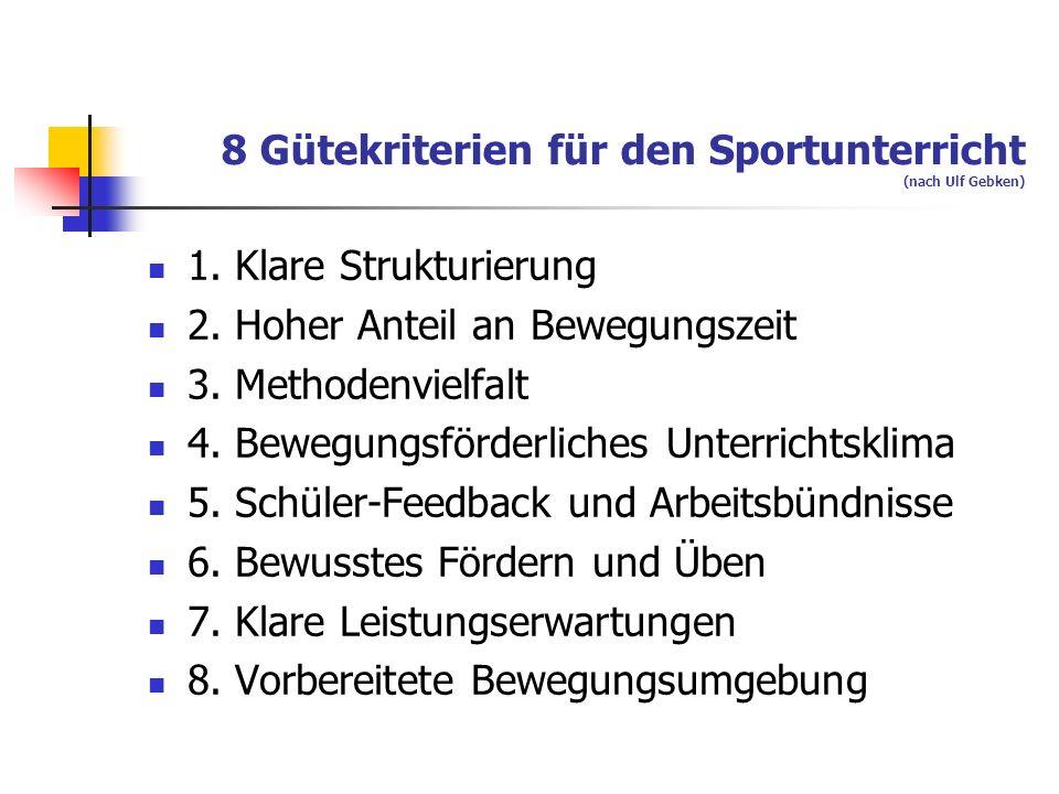 8 Gütekriterien für den Sportunterricht (nach Ulf Gebken) 1. Klare Strukturierung 2. Hoher Anteil an Bewegungszeit 3. Methodenvielfalt 4. Bewegungsför