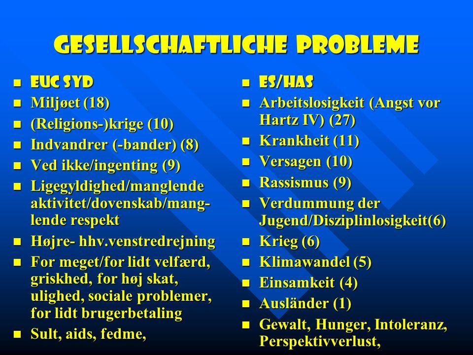Gesellschaftliche Probleme EUC Syd EUC Syd Miljøet (18) Miljøet (18) (Religions-)krige (10) (Religions-)krige (10) Indvandrer (-bander) (8) Indvandrer (-bander) (8) Ved ikke/ingenting (9) Ved ikke/ingenting (9) Ligegyldighed/manglende aktivitet/dovenskab/mang- lende respekt Ligegyldighed/manglende aktivitet/dovenskab/mang- lende respekt Højre- hhv.venstredrejning Højre- hhv.venstredrejning For meget/for lidt velfærd, griskhed, for høj skat, ulighed, sociale problemer, for lidt brugerbetaling For meget/for lidt velfærd, griskhed, for høj skat, ulighed, sociale problemer, for lidt brugerbetaling Sult, aids, fedme, Sult, aids, fedme, ES/HAS Arbeitslosigkeit (Angst vor Hartz IV) (27) Krankheit (11) Versagen (10) Rassismus (9) Verdummung der Jugend/Disziplinlosigkeit(6) Krieg (6) Klimawandel (5) Einsamkeit (4) Ausländer (1) Gewalt, Hunger, Intoleranz, Perspektivverlust,