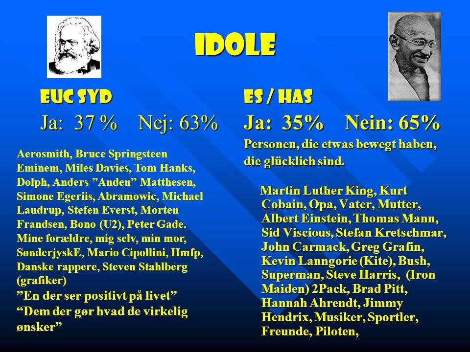 Idole EUC Syd Ja: 37 % Nej: 63% ES / HAS Ja: 35% Nein: 65% Personen, die etwas bewegt haben, die glücklich sind.