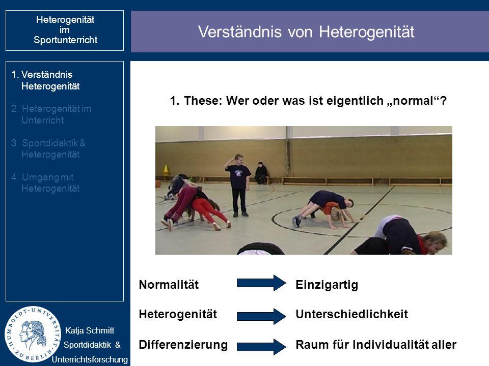 Verständnis von Heterogenität 1.Verständnis Heterogenität 2. Heterogenität im Unterricht 3. Sportdidaktik & Heterogenität 4. Umgang mit Heterogenität