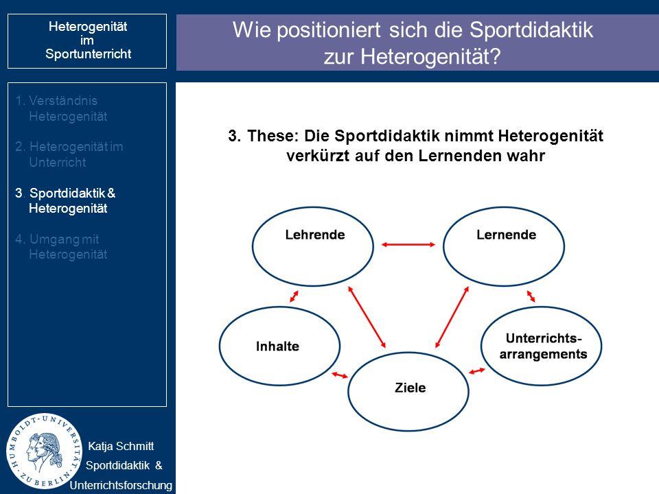 Wie positioniert sich die Sportdidaktik zur Heterogenität? 1.Verständnis Heterogenität 2. Heterogenität im Unterricht 3. Sportdidaktik & Heterogenität