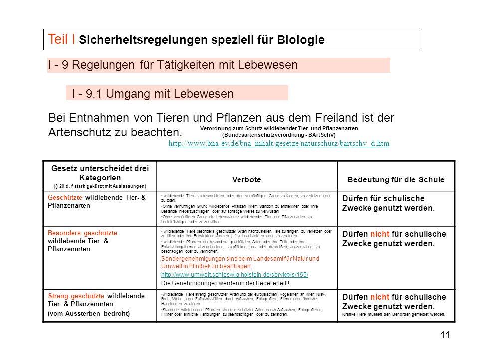 11 I - 9 Regelungen für Tätigkeiten mit Lebewesen I - 9.1 Umgang mit Lebewesen Teil I Sicherheitsregelungen speziell für Biologie Bei Entnahmen von Ti
