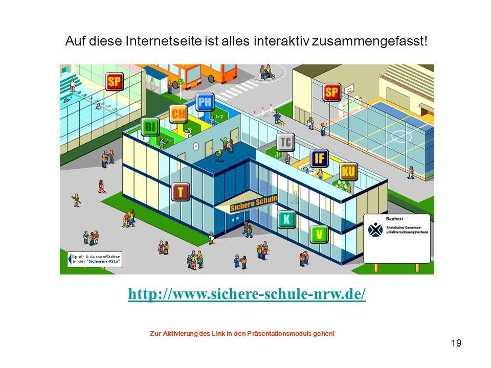 19 http://www.sichere-schule-nrw.de/ Auf diese Internetseite ist alles interaktiv zusammengefasst! Zur Aktivierung des Link in den Präsentationsmoduls