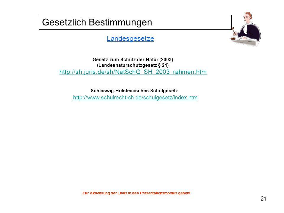 21 Landesgesetze Gesetz zum Schutz der Natur (2003) (Landesnaturschutzgesetz § 24) http://sh.juris.de/sh/NatSchG_SH_2003_rahmen.htm Schleswig-Holstein