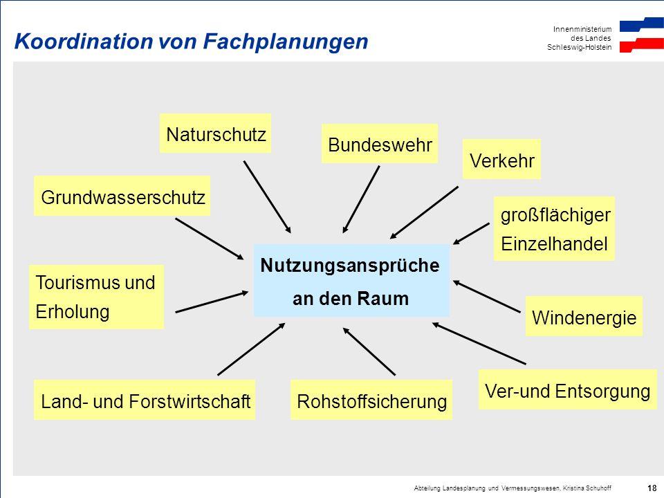 Innenministerium des Landes Schleswig-Holstein Abteilung Landesplanung und Vermessungswesen, Kristina Schuhoff 18 Koordination von Fachplanungen Nutzu