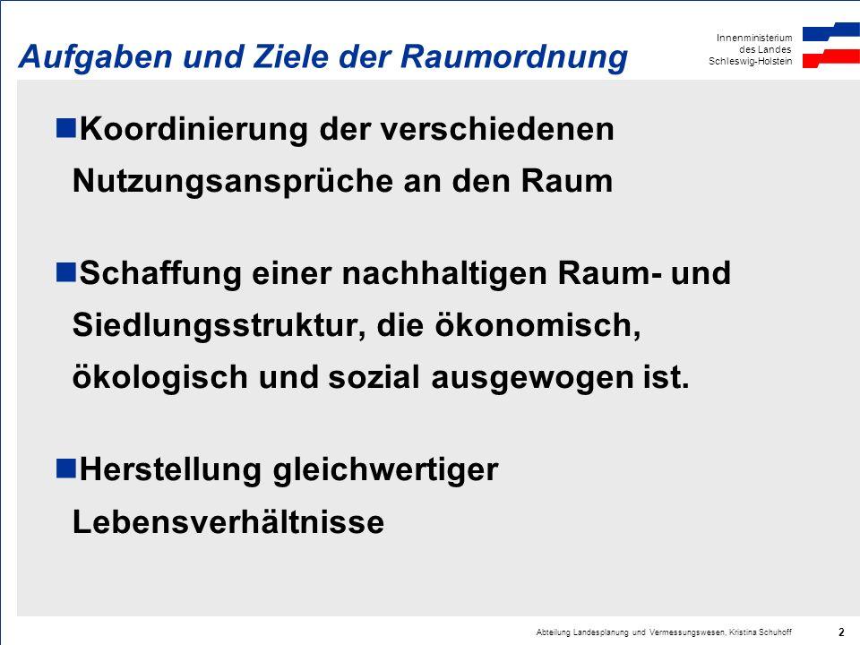 Innenministerium des Landes Schleswig-Holstein Abteilung Landesplanung und Vermessungswesen, Kristina Schuhoff 2 Aufgaben und Ziele der Raumordnung Ko
