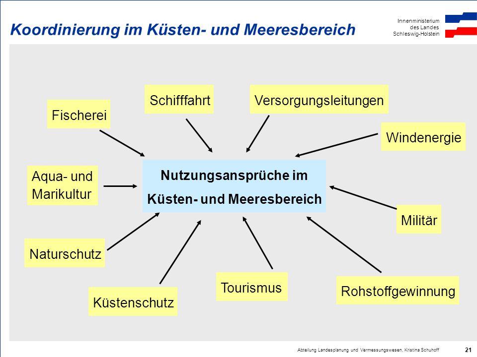 Innenministerium des Landes Schleswig-Holstein Abteilung Landesplanung und Vermessungswesen, Kristina Schuhoff 21 Koordinierung im Küsten- und Meeresb