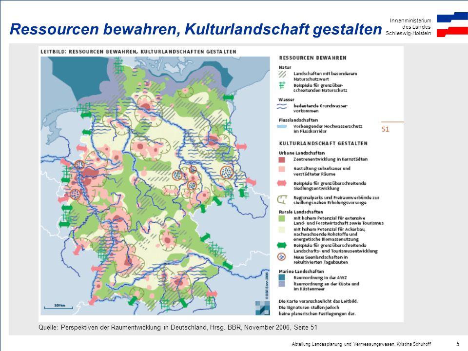 Innenministerium des Landes Schleswig-Holstein Abteilung Landesplanung und Vermessungswesen, Kristina Schuhoff 16 Siedlungsachsen, Regionale Grünzüge, Grünzäsuren