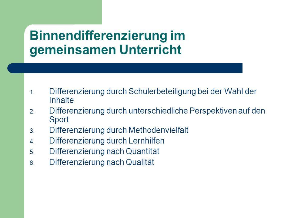 Binnendifferenzierung im gemeinsamen Unterricht 1. Differenzierung durch Schülerbeteiligung bei der Wahl der Inhalte 2. Differenzierung durch untersch