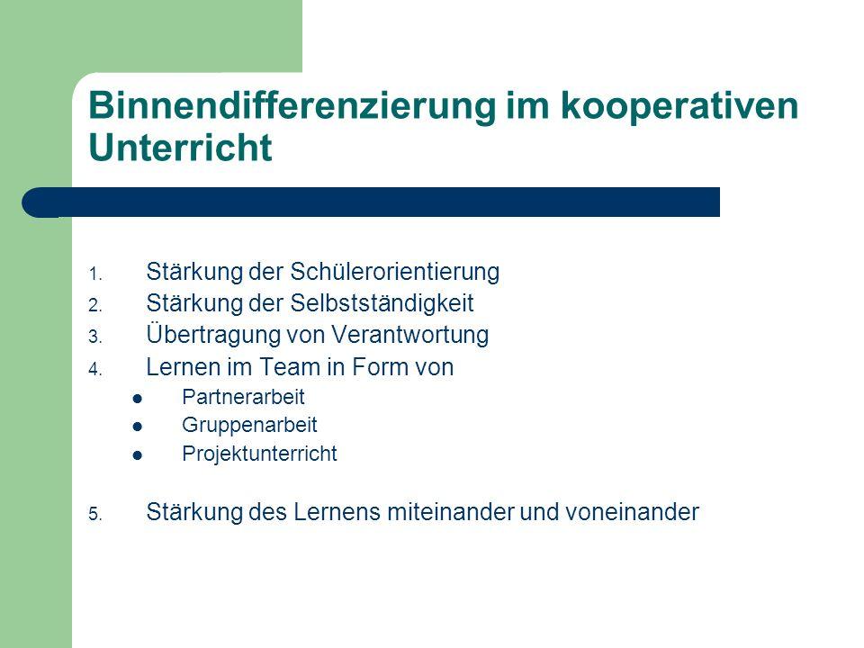 Binnendifferenzierung im kooperativen Unterricht 1. Stärkung der Schülerorientierung 2. Stärkung der Selbstständigkeit 3. Übertragung von Verantwortun