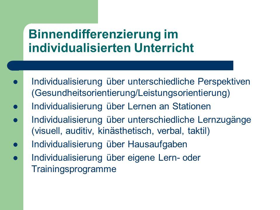 Binnendifferenzierung im individualisierten Unterricht Individualisierung über unterschiedliche Perspektiven (Gesundheitsorientierung/Leistungsorienti