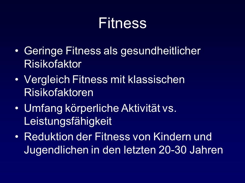 Fitness Geringe Fitness als gesundheitlicher Risikofaktor Vergleich Fitness mit klassischen Risikofaktoren Umfang körperliche Aktivität vs. Leistungsf