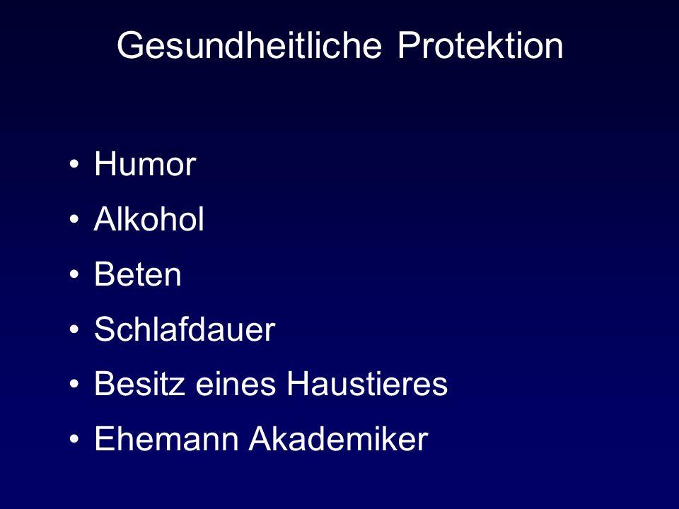 Gesundheitliche Protektion Humor Alkohol Beten Schlafdauer Besitz eines Haustieres Ehemann Akademiker