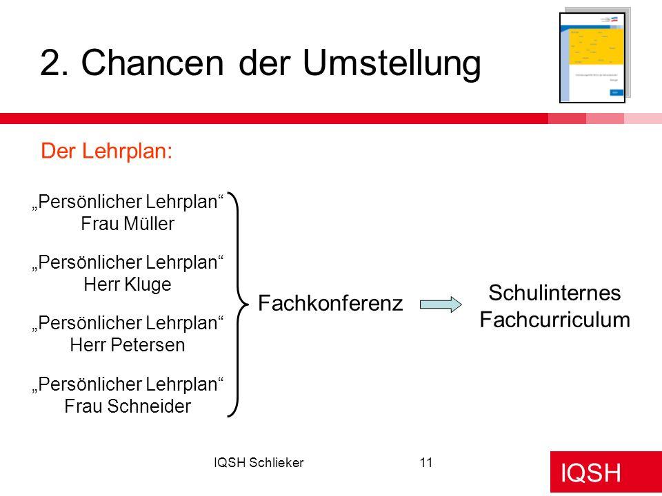 IQSH IQSH Schlieker11 2. Chancen der Umstellung Persönlicher Lehrplan Frau Müller Persönlicher Lehrplan Herr Kluge Persönlicher Lehrplan Herr Petersen