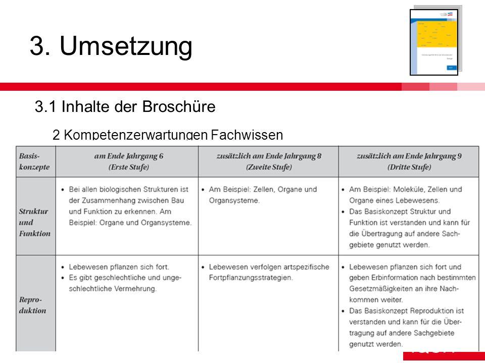 IQSH IQSH Schlieker17 3. Umsetzung 3.1 Inhalte der Broschüre 2 Kompetenzerwartungen Fachwissen