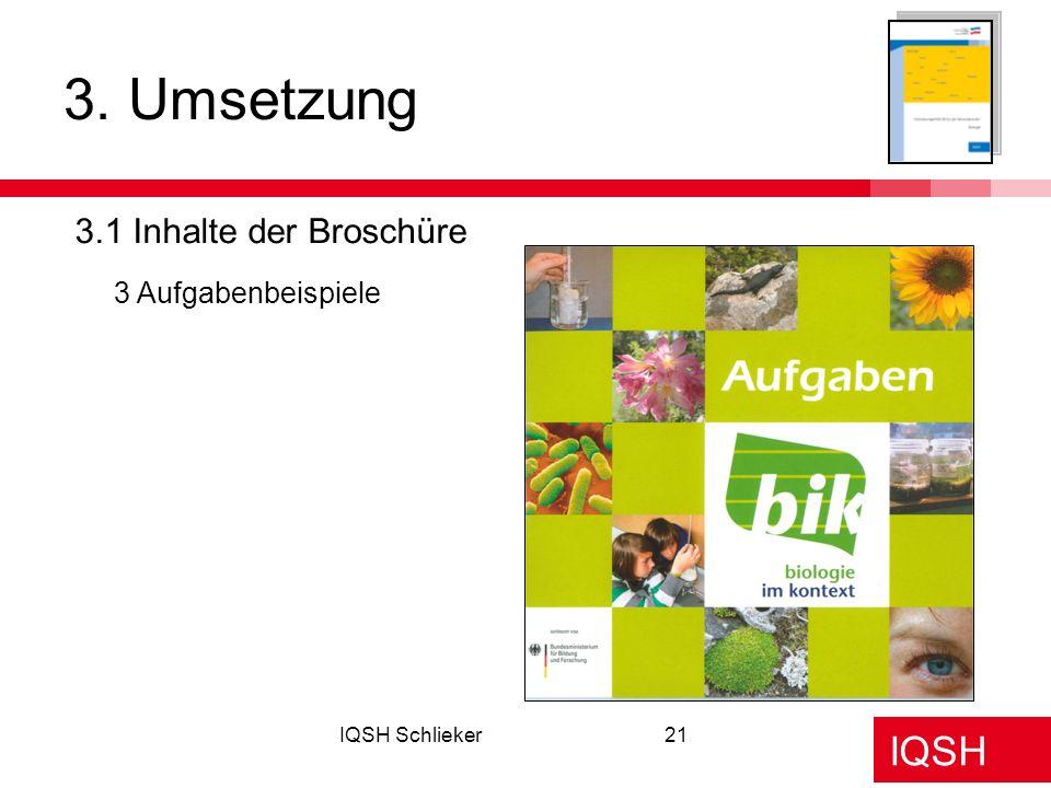 IQSH IQSH Schlieker21 3. Umsetzung 3.1 Inhalte der Broschüre 3 Aufgabenbeispiele