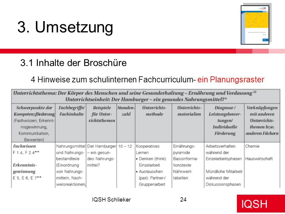 IQSH IQSH Schlieker24 3. Umsetzung 3.1 Inhalte der Broschüre 4 Hinweise zum schulinternen Fachcurriculum- ein Planungsraster