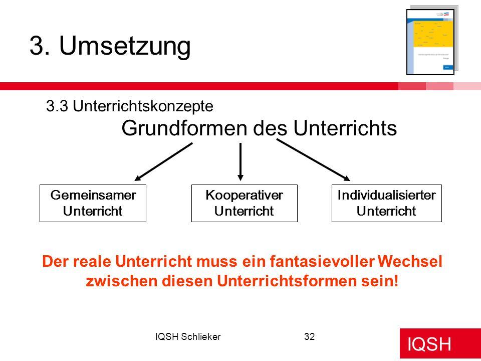 IQSH IQSH Schlieker32 3. Umsetzung 3.3 Unterrichtskonzepte Grundformen des Unterrichts Gemeinsamer Unterricht Kooperativer Unterricht Individualisiert